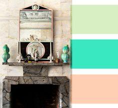 mint + aqua  + peach #color #palette