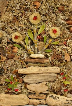 My flower pot art collage applied on canvas using natural organic materials, lichens, dried flowers, driftwood, seed pods, tree bark, leaves and so on.