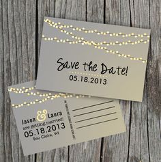 DIY Printable - Save the Date Postcard - String of Lights on Etsy, $15.00
