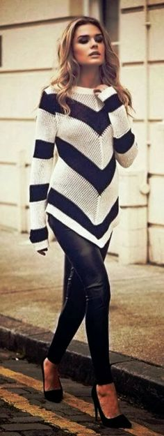 Navy & White Chevron Blouse. I don't typically like the long point fronts and back, but this falls so nicely. Super cute!