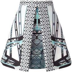 MARY KATRANTZOU 'Kathmandu' skirt ($1,619) ❤ liked on Polyvore featuring skirts, bottoms, silk pleated skirt, high waisted pleated skirt, pleated mid length skirt, high waisted skirts and multi color skirt