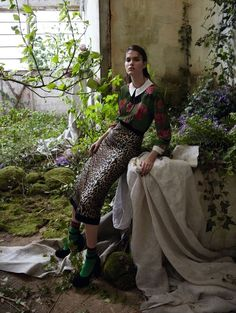 Wild Garden: Vanessa Moody by Camilla Åkrans for Vogue China August 2016 - Gucci Fall 2016 blouse, Emanuel Ungaro skirt