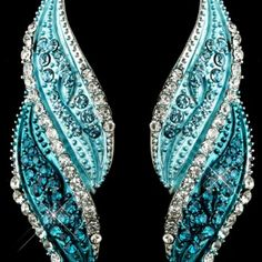 Silver Turquoise Rhinestone Dangle Bridal Earrings 9252 - Wedding Jewelry, Engagement Rings, Bridal Sets & Watches, Unique Wedding Necklaces & Brooches | All Bridal Jewelry