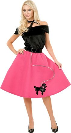 Womens Black And Fuchsia Poodle Skirt Top Costume
