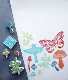in the garden hand-carved stamps ♥ #diy