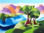 Mark Adam Webster|Mark Webster - Elephant Trees at the Watering Hole - Abstract Geometric Landscape Oil Painting