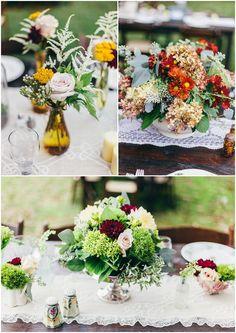Autumnal floral centrepieces