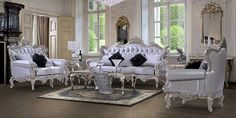 Sofa Set White Tufted Tapestry with Wood Trim