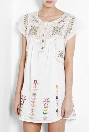 Embroidered White Dress (florals remind me of Hungary)