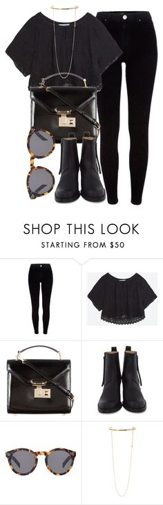 """""""Untitled #6490"""" by laurenmboot ❤ liked on Polyvore featuring River Island, Zara, Rebecca Minkoff, Acne Studios, Illesteva and STELLA McCARTNEY"""