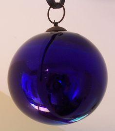 """AUTHENTIC LATE 19th C CZECH / GERMAN 5.25"""" KUGEL CHRISTMAS COBALT BLUE ORNAMENT"""