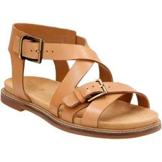 Clarks Women's Corsio Bambi Light Tan Sandals ($100) ❤ liked on Polyvore featuring shoes, sandals, strappy leather sandals, beach sandals, leather flats, double buckle sandals and strappy flats