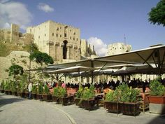 Restaurants on the side of the citadel of Aleppo