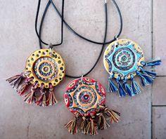 Oriental ceramic pendant tribal style jewelry Boho by ednapio