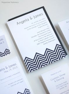Chevron style wedding invitation by Peppertree Weddings http://www.etsy.com/shop/PeppertreeStationery?ref=si_shop