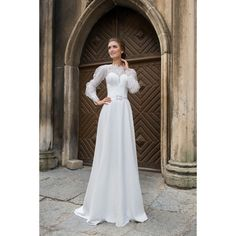 Luxusné dlhé svadobné šaty s rukávmi a jednoruchou sukňou predelené opaskom cf267664b30