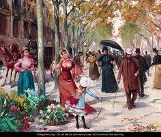 A flower seller on a tree-lined Parisian boulevard - Joan Roig Soler