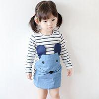 2015 Повседневный стиль полосатый с длинным рукавом платье девушки мыши красивый осенний дизайн новых прибыть одежду детей