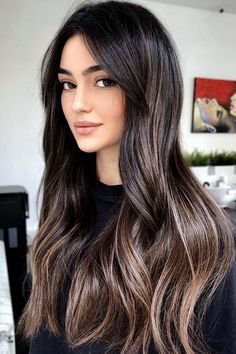 Black Hair With Highlights, Hair Color For Black Hair, Brown Hair Colors, Black Hair Dyed Brown, Long Black Hair, Lowlights For Black Hair, Balayage With Highlights, Black Hair Makeup, Black Hair Cuts