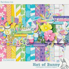 Rainbow Ice by Hat of Bunny, just one of 4 amazing kits featured in the July 2014 Scrap Pack at Scrap Stacks! scrapstacks.com/scrappack