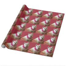 WESTIE ON ROSE WRAPPING PAPER