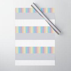 Colour Pop Stripes - Pastel Rainbow Wrapping Paper by laec Colour Pop, Color, Double Stick Tape, Wraps, Pastel, Gift Wrapping, Stripes, Rainbow, Gifts