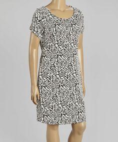 Look at this #zulilyfind! Black & White Rose Shift Dress - Plus by Seven Karat #zulilyfinds