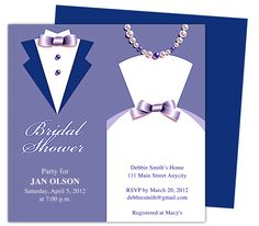 Couple Bridal Shower Invitations Template, available in Blue, Purple (shown), green, brown, and teal. DIY printable templates edits in Word, Publisher, Apple iWork Pages, and OpenOffice.