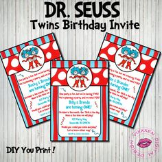 196 Best Twin Dr Seuss Party Images Dr Seuss Birthday