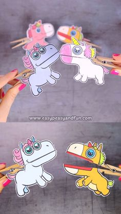 Clothespin Puppets Dive into the land of the fairy tales with this colorful set of unicorn clothespin puppets for kids.Dive into the land of the fairy tales with this colorful set of unicorn clothespin puppets for kids. Winter Crafts For Kids, Fun Crafts For Kids, Summer Crafts, Diy For Kids, Activities For Kids, Arts And Crafts, Paper Crafts, Spy Kids, Preschool Crafts