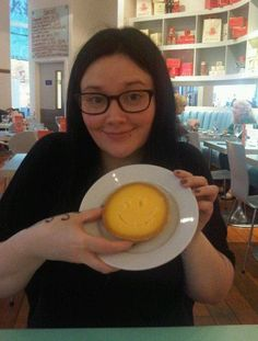 My little sis' lovely face! (And the lemon tart we subsequently devoured...)