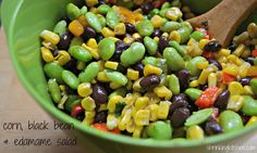 corn, black bean & edamame salad-- I made this without the cilantro (which I          didn't have) and with orange pepper instead of red. Delicious! (I like it better as a snack than a meal, though)
