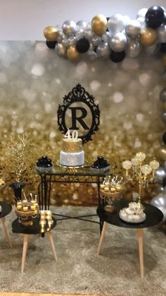 65th Birthday Party Ideas, Birthday Party Decorations For Adults, Birthday Decor For Him, 60th Birthday Centerpieces, 40 Birthday, Black And Gold Party Decorations, 40th Birthday Decorations, Male Birthday Parties, Neon Birthday Parties