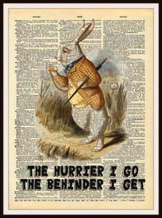 "Alice in Wonderland White Rabbit Vintage Art Print on Ephemera Dictionary Book Page Background, 8 x 10"""