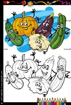 Vegetables Group Cartoon For Coloring Book Cute Elephant Cartoon, Baby Cartoon, Fruit Cartoon, Cartoon Faces, Kids Vector, Dog Vector, Free Coloring Pages, Coloring Books, Vegetable Cartoon