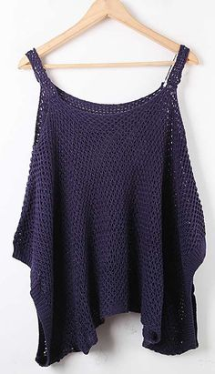 Blue Spaghetti Strap Batwing Hollow Loose Sweater