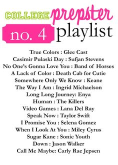 College Prepster Playlist No. 4