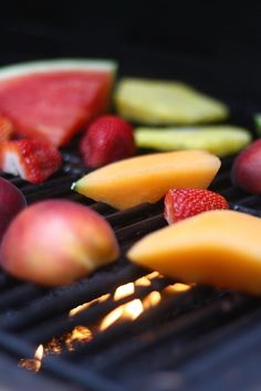 grilled fruit salad on the bbq