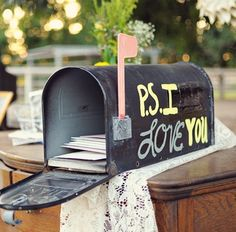 Adorable #wedding guestbook! A mailbox is such a cute idea for a place to put guest's cards or letters to the bride and groom!