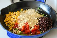 Try this awesome One Pan Mexican Quinoa Recipe.  Not only is it healthy, but it's super fast and easy!  You literally throw everything in the pan and let it cook! Enjoy :)