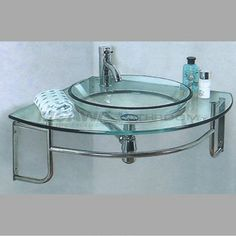 glass washbasin with faucet, round glass bowl