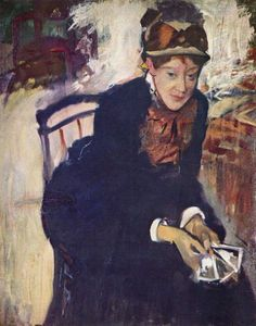 Portrait of Miss Cassatt, Seated, Holding Cards - Edgar Degas - c. 1876–1878