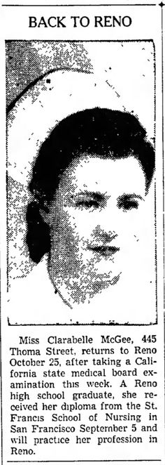 Nevada State Journal, 21 Oct 1942, Wed, Page 5  1942 Oct 21 Back To Reno Clara Belle McGee (Barnett)