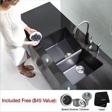 """View the Kraus KGU-431 32-1/2"""" Double Basin Undermount Granite Composite Kitchen Sink with 60/40 Split at FaucetDirect.com."""