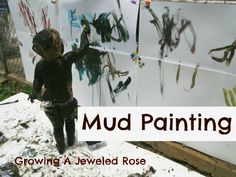April Play in the Mud- Website shows a lot of different ways to play in the mud. This example is with mud painting. This is done outside with the paper being hung on a fence or wall. Outside Activities, Summer Activities, Sensory Activities, Sensory Play, Family Activities, Sensory Diet, Sensory Table, Indoor Activities, Outdoor Learning