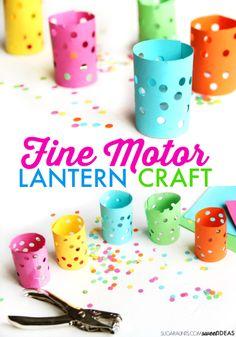 Kids will love to make this fine motor lantern craft while working on fine motor skills like hand strength and scissor skills.