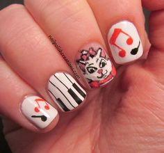 Nail Polish Creations: Aristocats, Marie Inspired, would do these on my girls but there nails are too small :(