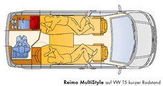 Grundriss des Reimo MultiStyle auf Volkswagen Transporter 5 kurzer Radstand - Klick öffnet Großansicht