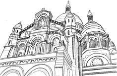 Coloriage Basilique du Sacré-Coeur