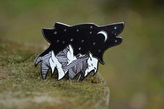 **Currently on backorder - will ship by November A starry scene over rocky mountains in nestled in a silhouette of a lone, howling wolf. Measures by made from hard enamel. Features 2 pin posts to make it extra secure. Check out my other pins here: Jacket Pins, Wolf Howling, Cool Pins, Pin And Patches, Metal Pins, Up Girl, Pin Badges, Lapel Pins, Night Skies